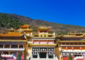Sun over the monastery in kangding in china