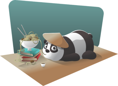 panda avec livre