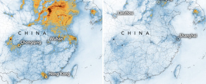 Polution in China seen from satellites